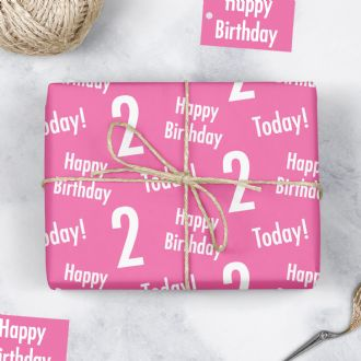 2nd Birthday Pink Gift Wrapping Paper & Gift Tags (1 Sheet & 2 Tags) - 'Happy Birthday' - '2 Today!'